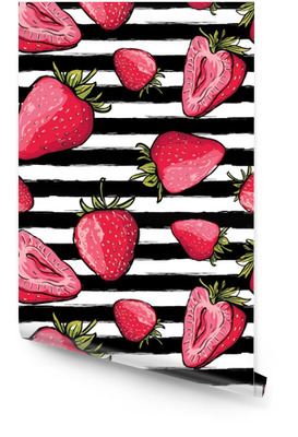 Vector summer seamless pattern. Red strawberries on black and white watercolor striped background. Hand drawn juicy berries background. Design for fabric, textile print, wrapping paper or web. Wallpaper roll