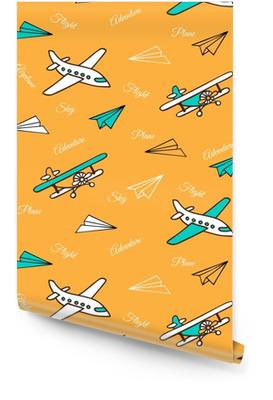 Geel naadloos patroon van schattige vliegtuigen Behangrol