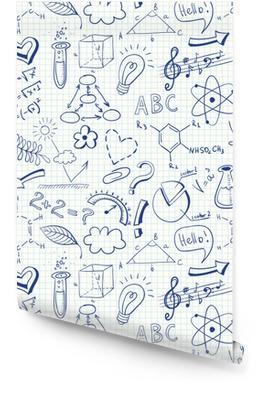 Modello senza cuciture di doodle di educazione con simboli di scienza Rotolo di carta da parati