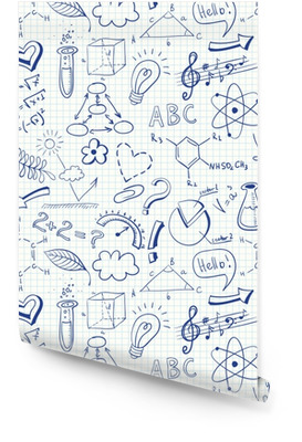 Edukacja doodle wzór z symboli nauki Tapeta w rolce