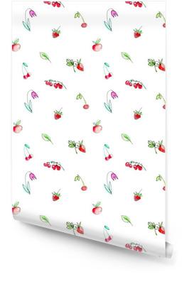 Seamless com frutas jardim e berries.Cherry, framboesa, groselha, morango, maçã e flor. aguarela desenhada mão illustration.White fundo. Rolo de papel de parede