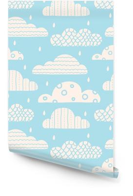 Nubes lindas. Vector sin patrón. Rollo de papel pintado