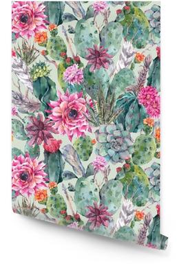 Kaktus akvarell sømløs mønster i boho stil. Rulletapet