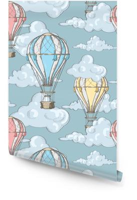 Patrones sin fisuras con globos y nubes en el cielo Rollo de papel pintado