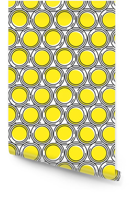 Seamless pattern of circles of yellow and black circles contour with cuts. Geometric background. Abstraction. Wallpaper roll