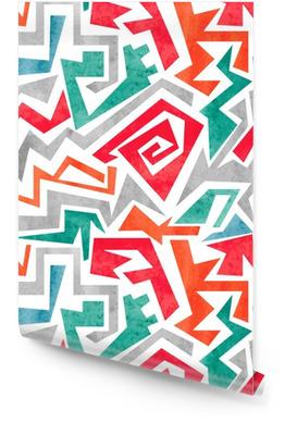 Aquarell Graffiti bunten nahtlose Muster in rot, orange und blaue Farben. Vector geometrischen abstrakten Hintergrund. Tapetenrolle