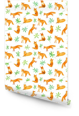 Fox and plants seamless pattern.Watercolor hand drawn illustration.White background. Wallpaper Roll