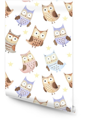 Adorable watercolor owls seamless pattern Wallpaper roll