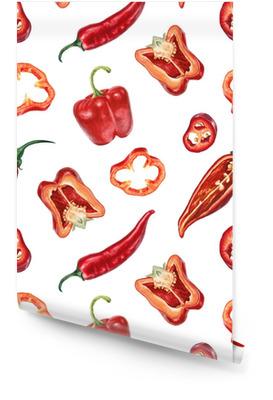 Akwarela, chili i czerwony pieprz wzór Tapeta w rolce
