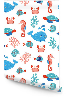 Cute sea animals seamless pattern in blue and pink colors. Vector background with children drawings of whale, turtle, sea horse and fishes. Wallpaper roll