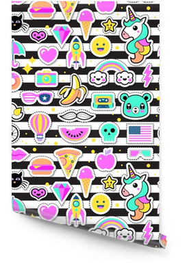 Fashion chic patches, pins, badges and stickers seamless pattern Wallpaper Roll