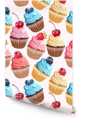 50847470 Sømløse cupcakes og polka dot Rulletapet