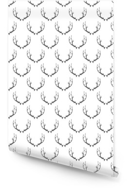 Animal Horns Seamless Pattern on White Background Wallpaper Roll