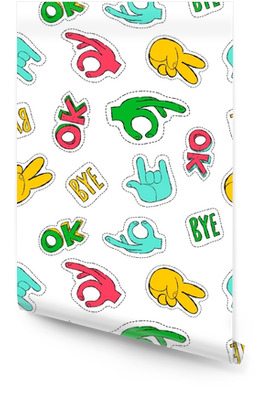 Retro 90s style hand sign patch seamless pattern Wallpaper roll
