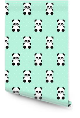 Modelo inconsútil de Panda en lunares fondo verde. Diseño lindo para impresión en la ropa del bebé, textil, papel pintado, tela. Vector de fondo con la sonrisa de la panda animal del bebé. estilo de ilustración infantil. Rollo de papel pintado