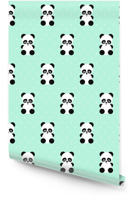 Panda seamless pattern on polka dots green background. Cute design for print on baby's clothes, textile, wallpaper, fabric. Vector background with smiling baby animal panda. Child style illustration. Wallpaper roll