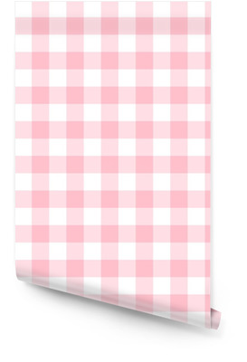 Checkered seamless pattern in feminine light pink and white Wallpaper roll