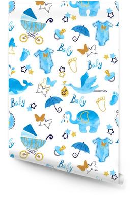 Baby shower jongen naadloze patroon. vector aquarel kinderen achtergrond. Behangrol
