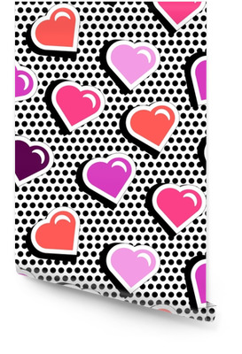 Seamless pattern with colorful badge shape hearts on black dotty background. Vector illustration with heart stickers in cartoon 80s-90s comic style. Pop art stile repeating texture with red hearts. Wallpaper roll