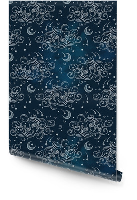Vector seamless pattern with celestial bodies - moons, stars and clouds. Boho chic print hand drawn textile design Wallpaper Roll