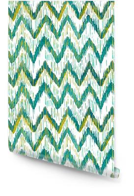 Aquarelle ikat chevron pattern. aquarelle vert et bleu. collection ethnique de Bohême. Rouleau de papier peint