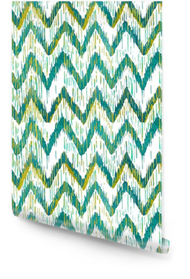 Akvarell ikat chevron sømløs mønster. Grønn og blå akvarell. Bøhmisk etnisk samling. Rulletapet