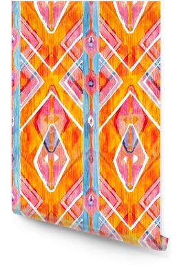 916448b8 Ikat geometrisk rødt og oransje ekte mønster i akvarellstil. Akvarell sømløs.  Rulletapet