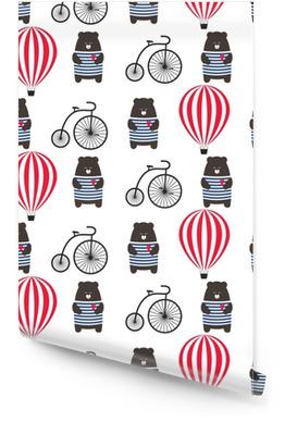 Porter avec vélo et modèle sans couture de montgolfière. teddy mignon dessin animé avec illustration vectorielle de transport rétro. enfant dessin style fond d'aventure. conception pour le tissu, le textile etc. Rouleau de papier peint