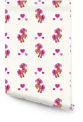 Seamless con simpatico cartone animato piccolo cavallo Rotolo di carta da parati