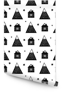 Black and white nordic mountains, houses and stars. Seamless pattern with geometric snowy mountains and homes. Simple scandinavian nature illustration. Vector mountains background. Wallpaper roll
