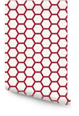 Abstract geometrisch rood en wit grafisch ontwerpdeco-patroon Behangrol