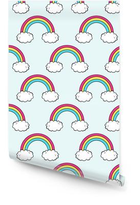 Vector naadloze patroon met schattige regenboog en wolken Behangrol