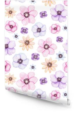 Nahtlose Muster mit Aquarell gelben und violetten Blüten Tapetenrolle