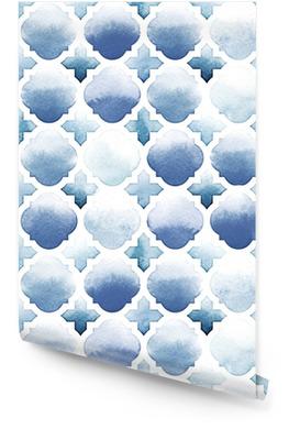Ornamento morrocan di colori blu su sfondo bianco. modello acquerello senza soluzione di continuità. lungo il fiume e il blu arioso Rotolo di carta da parati