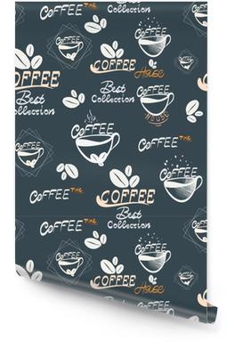 Hand, die nahtlose Illustration des Kaffees zeichnet Tapetenrolle