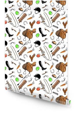 Conjunto de herramienta de la tachuela de equitación en blanco. sin patrón, con filete, poco, sombrero, freno, silla de montar, cepillo, estribo, látigo, alto cargador. Vector de dibujos animados mano dibuja ilustración. Rollo de papel pintado