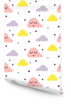 Sleepy clouds girlish seamless kid vector pattern. Pink, yellow and white background. Cute baby style textile fabric cartoon scandinavian ornament. Wallpaper roll