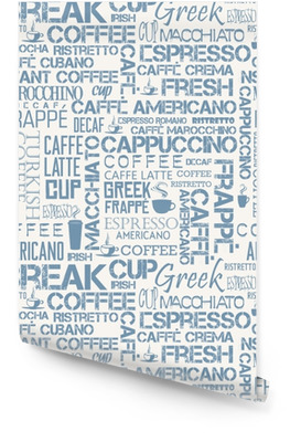 Background seamless tile of coffee words and symbols Wallpaper Roll