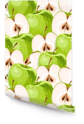 Gröna äpplen och äppelskivor sömlösa Rulltapet