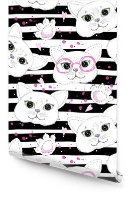 Fond transparent de chats mignons Rouleau de papier peint