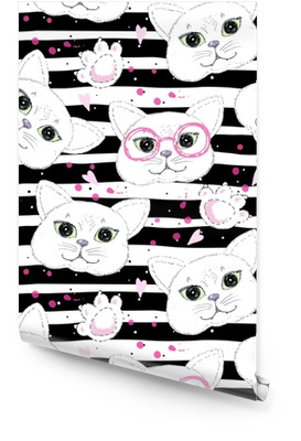 Cute cats seamless pattern background Wallpaper roll