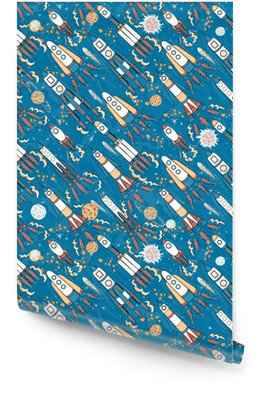 hand drawn cartoon space seamless pattern. rockets, spacemen, planets and stars Wallpaper Roll