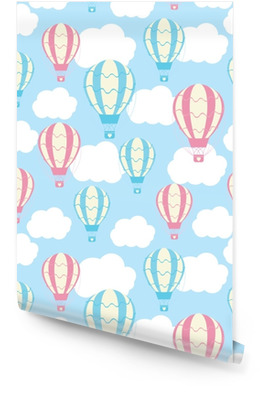 Baby shower seamless pattern with cute hot air balloons on blue sky suitable for baby shower wallpaper, scrap paper and fabric pattern Wallpaper Roll