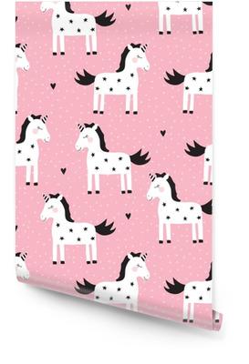 Ilustración de vector de patrón de unicornio lindo inconsútil Rollo de papel pintado