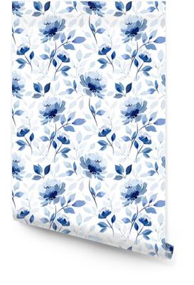 Patrón con flor azul rosa Rollo de papel pintado