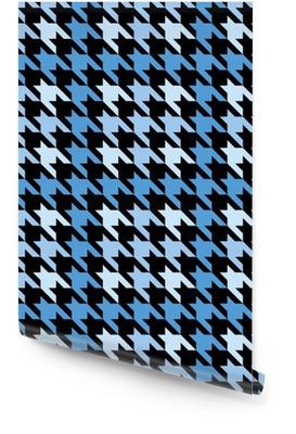 Pied-de-poule a quadri in blu Rotolo di carta da parati
