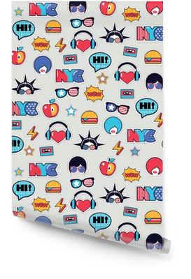 Trendy pop-art naadloos Amerikaans patroon met flarden en stickers Behangrol