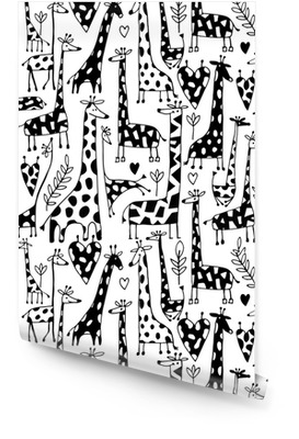 Funny giraffes sketch, seamless pattern your design Wallpaper Roll