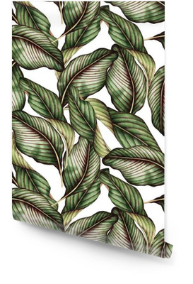 Seamless floral pattern with tropical leaves, watercolor. Wallpaper roll