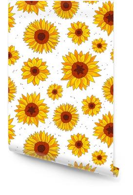 Seamless vector pattern of sunflowers Wallpaper Roll